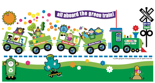 hop aboard planetpals green train