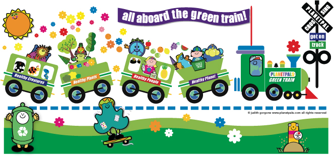 Hop Aboard Planetpals Green Train!