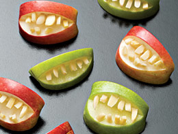 edible art apple teeth halloween